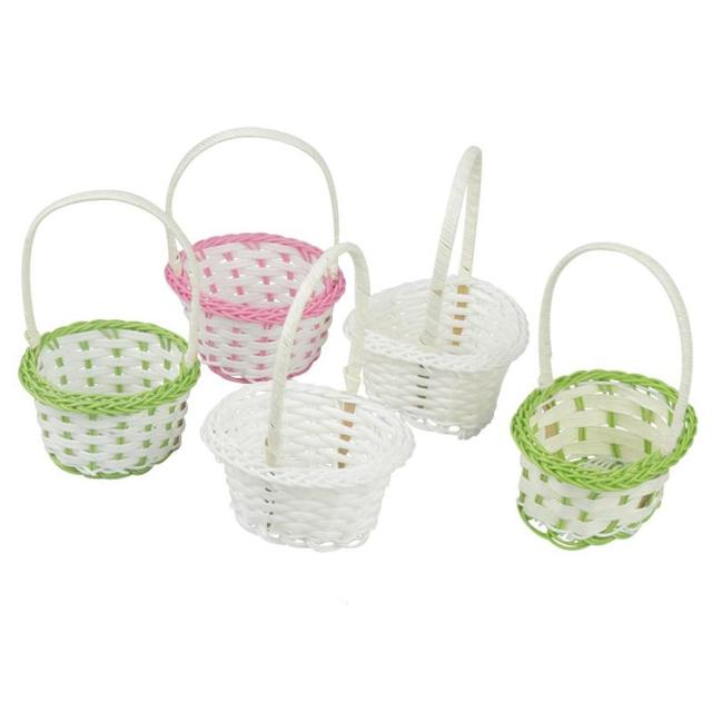 Small Handmade Plastic Woven Storage Basket Artificial Flower Rattan Wooden Photography Props Jewelry Organizer E