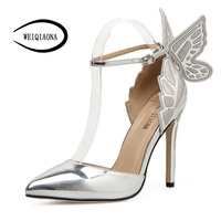 WEIQIAONA New Fashion Women Pumps Butterfly Heels Sandals Pointed Thin High Heels Sexy Elegent Wedding Shoes