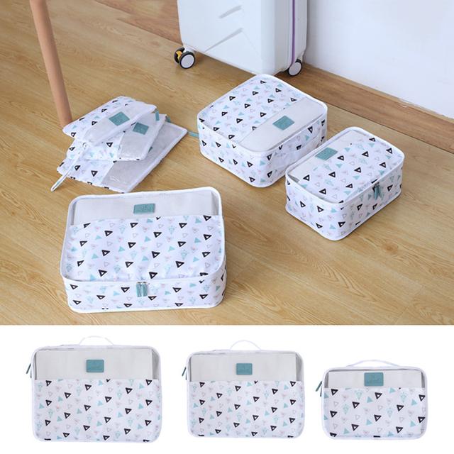 Cartoon pattern 6PCS/Set Travel accessories kit Mesh storage Luggage Organizer Packing Cube for Clothing underwear bag Wash bag