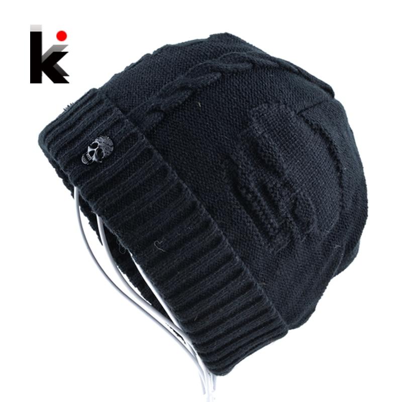 2017 Mens Skullies Winter Hat Beanies Knitted Wool Hip Hop Stocking Hat Plus Velvet Rasta Cap Skull Bonnet Hats For Men skullies