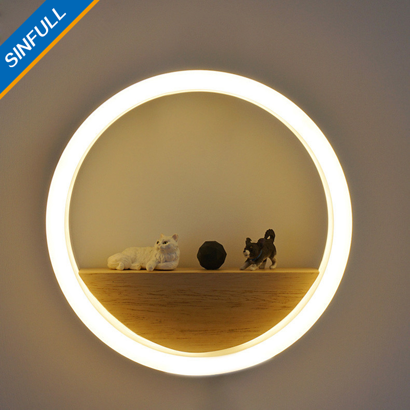 SINFULL Modern Creative Led Acrylic Wall Lamps Home Decor Ring LED Light Bedside New Design Wall Sconces Stair Pathway Lighting simple art modern led wall light fixtures for home indoor lighting acrylic round wall sconces bedside wall lamps lampara pared