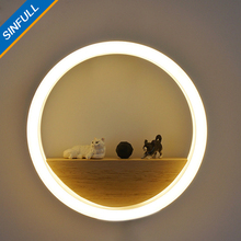 SINFULL Modern Creative Led Acrylic Wall Lamps Home Decor Ring LED Light Bedside New Design Wall Sconces Stair Pathway Lighting