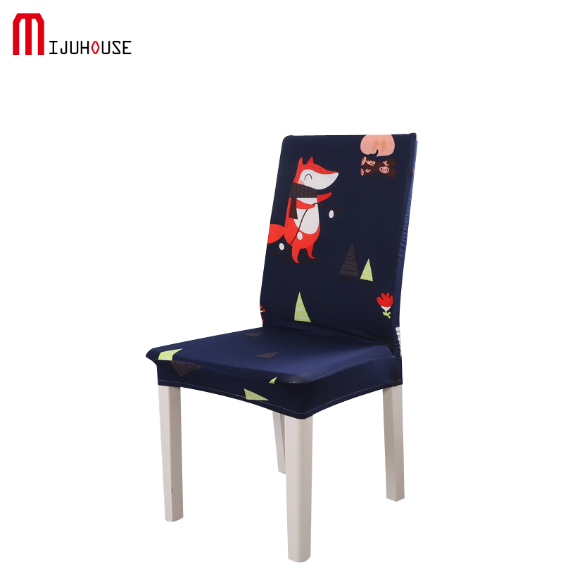 Cartoon Fox Printting Dining Chair Cover Removable Elastic Banquet Folding Dining Room Chair Cover For Modern Kitchen Chair