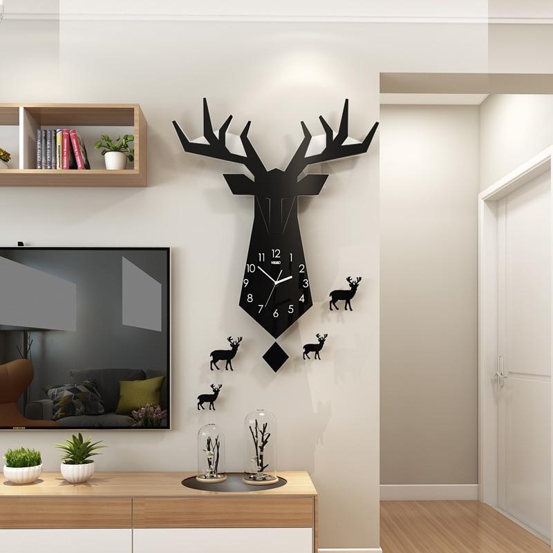 NEW 3D Geometric Animal Deer Northern European Style Wall Clock Modern Design Living Room Fashion Clocks Wall Sticker Home Decor in Wall Clocks from Home Garden