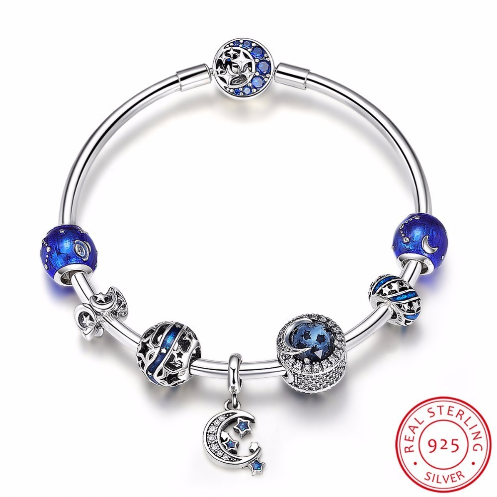 Authentic 925 Sterling Silver Sparkling Star and Moon Blue Enamel Bracelets & Bangles for Women Silver Jewelry SCB801 925 sterling silver bracelets for women moon and star cz crystal bracelets
