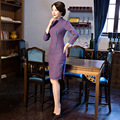 TIC-TEC chinese cheongsam short qipao wool slim vintage fashion women tradicional oriental dresses party weeding clothes P3018