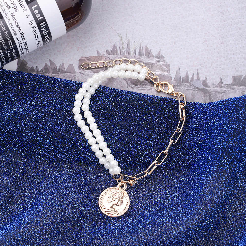 Fashion Gold Color Round Coin Pendant Bracelets for Women Girls Simple Bracelets Pearl Bangles Gifts
