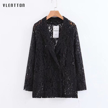 2019 New Women blazers and jackets Fashion Office Lady Lace double breasted blazer Sexy Hollow Spring black woman