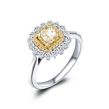 18K Gold And White Gold Diamond 1 Carat Cushion Pillow Yellow Diamond Drill Ring Female Luxury Group Diamond Ring Genuine