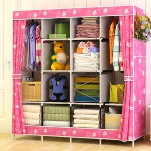 Image 2 - Non woven Cloth Wardrobe Closet Large Wardrobe Multifunction Dustproof Storage Cabinet Folding Fabric Wardrobe Bedroom Furniture