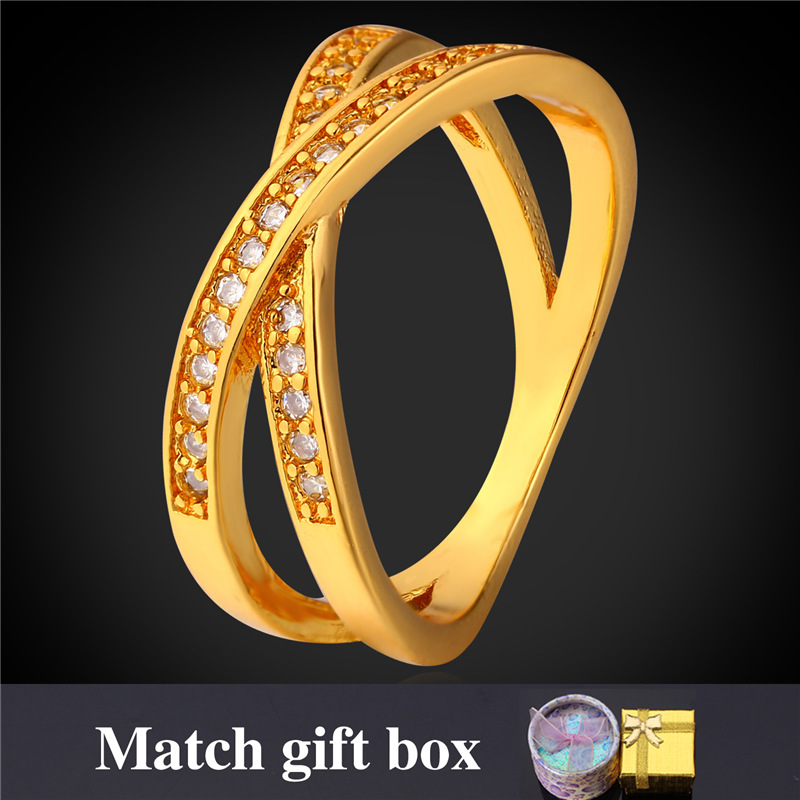 Gold Color Rings For MenWomen Fashion Jewelry With Gift Box Wholesale Intersect Zirconia Ring R1686