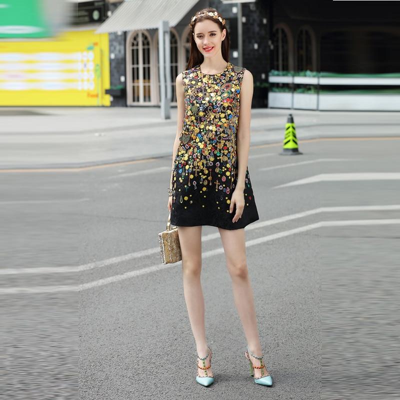 MIUXIMAO Europe Style 2019 été plus récent col rond sans manches coton imprimé diamants mignon Cusual élégant au-dessus du genou débardeur robe femmes