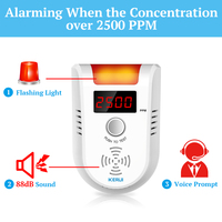 KERUI GD13 LED Display Natural Leak Combustible Gas Alarm Detector Wireless Digital Fire Alert Detector for Home Security System