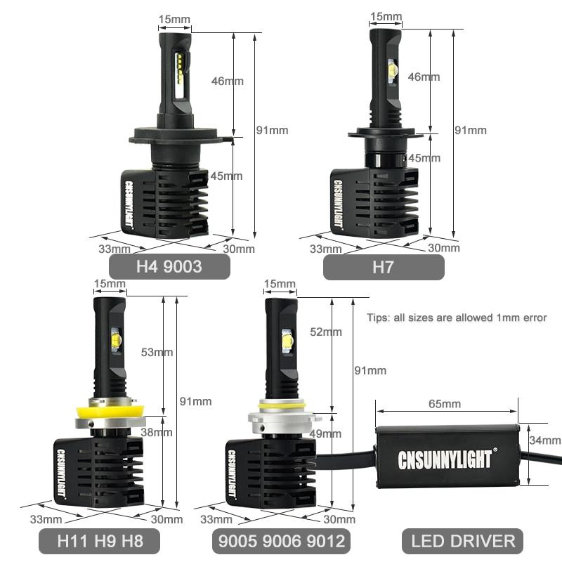 CNSUNNYLIGHT Canbus LED Headlight Car Bulbs H7 H11 9006 9005 H4 D1 wLUMILEDS MX70 Chips 14000Lm 5700K No Error Automotivo Light (7)