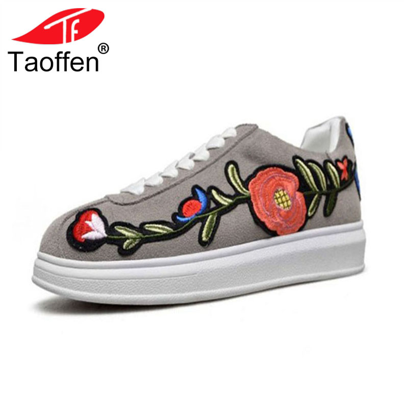 TAOFFEN Women Flats Shoes Genuine Leather Print Flower Ladies Shoes Fashion Vintage Shoes Vacation Daily Footwear Size 34-42 taoffen ladies leisure casual flats shoes low heels lady loafers sexy spring women brand footwear shoes size 34 42 p16166