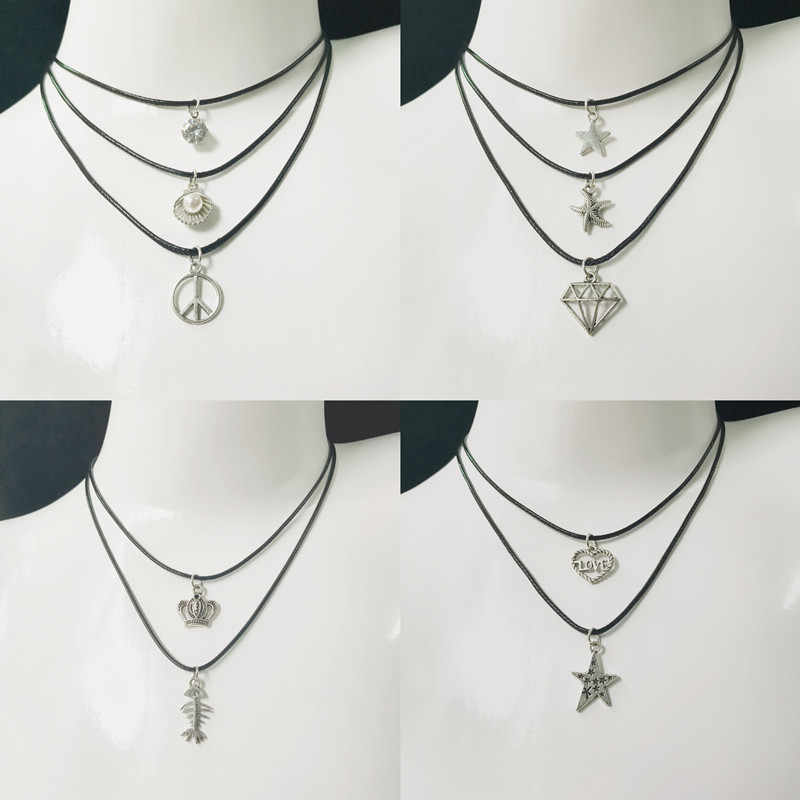 Hot Fashion Statement Necklaces Vintage Silver Plated Pendant Necklace Gothic Black Leather Choker Necklace For Women Gift