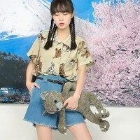 Kobiety Szyfonowa Bluzka Cute Animal Wydrukowano Lato Nowy Preppy styl Luźny Krótki Rękaw Kobiet Szyfonu topy Japan Style