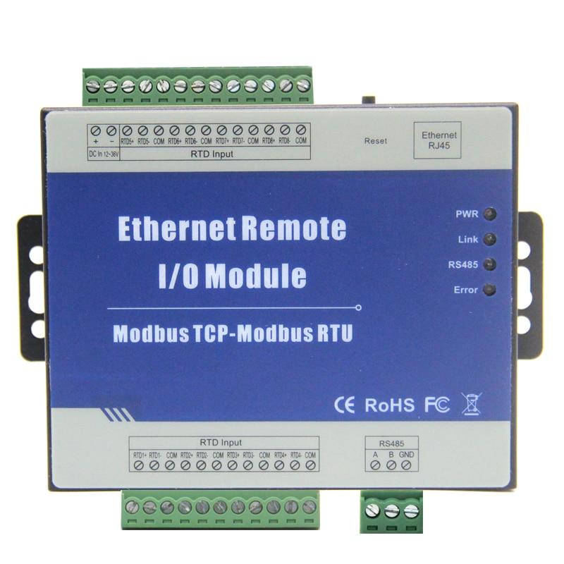 Modbus TCP to Ethernet RTU Remote I/O Module with 8 RTD inputs Supports PT100/PT1000 resistance sensor M340T new original rtu en01 plc ethernet remote i o module