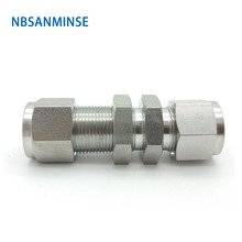 5 PCS / Lot Bulkhead Union Stainless Steel SS316L Pneumatic Fitting Plumbing High Quality Sanmin