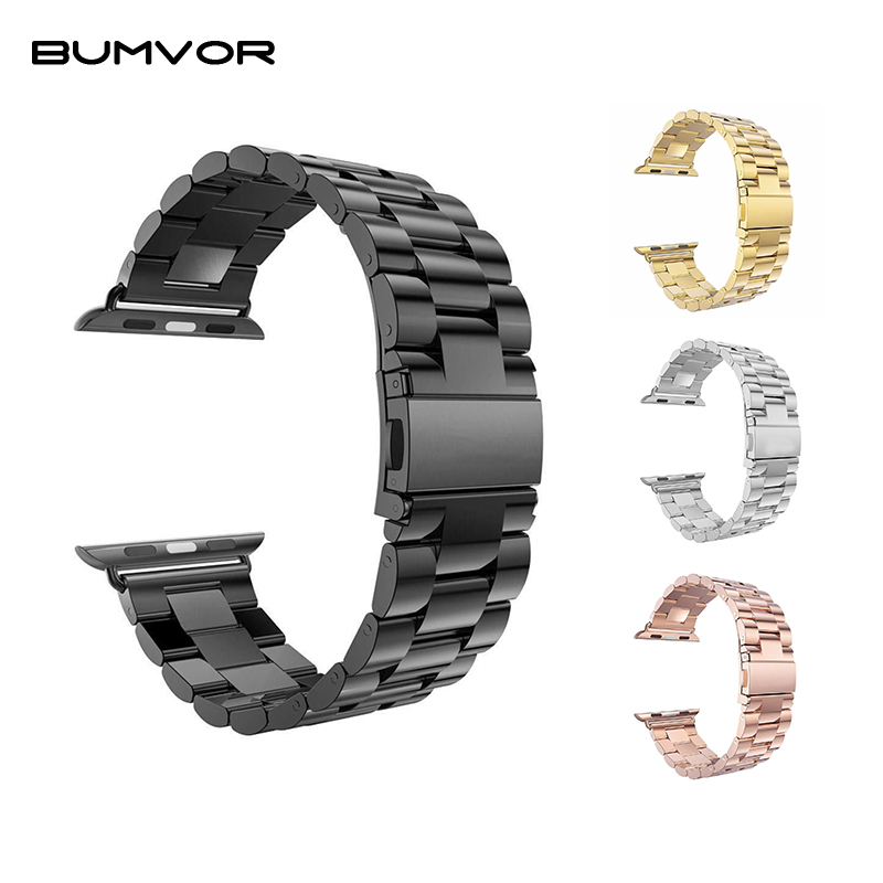 For Apple Watch Band 44/40MM Black Gold Stainless Steel Bracelet Buckle Strap for Apple Watch Band 42/38MM for iWatch 4/3/2/1 стоимость
