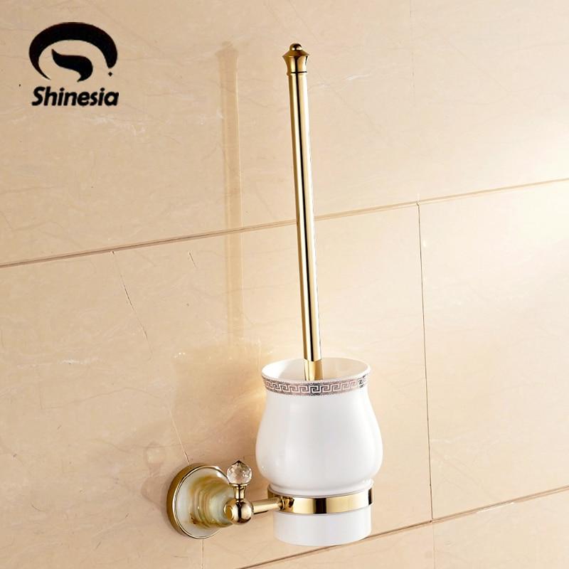 Luxury Gold Toilet Brush Cup Brush Holder Golden Brass Holder Wall Mounted