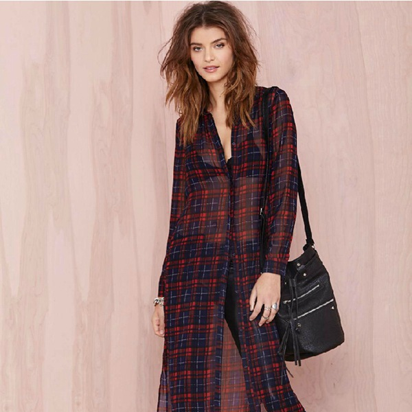 425e91056dd83a Oversize New 2015 Button Closures Plaid Shirt Women Blouses Long Sleeve  Loose Ankle Length Long Blouse Sheer Vintage Cover up
