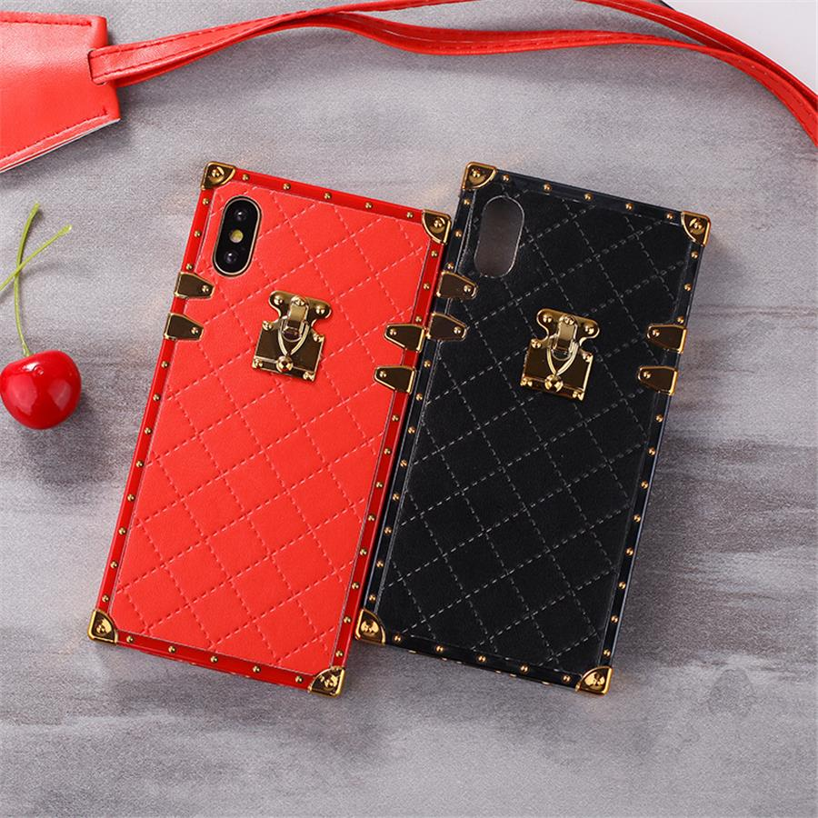 Luxury PU Leather Phone Cases for iphone X 6 6s 7 8 Plus Xr Xs max Fashion Square Lattice Vintage Phone Back Cover Coque Case