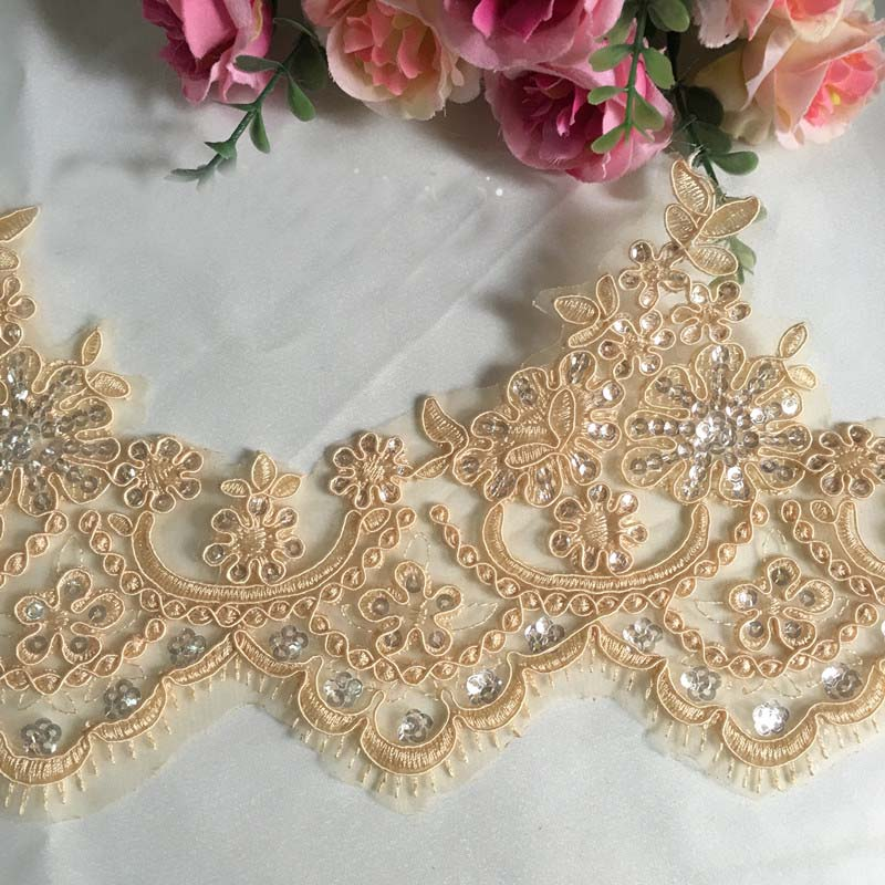 New design 1Yards 4Colors Europe Sequine Lace Wedding Dress DIY Manual Accessories Guipure LaceTrim 14cm SC039