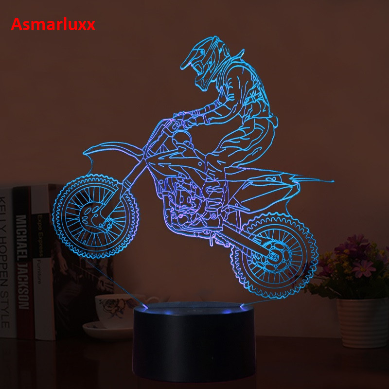 Luzes da Noite 3d moto de motocross luzes Change Mode : Touch Sensor on The Base