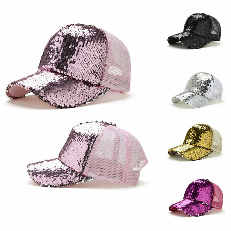 Ponytail <font><b>Baseball</b></font> <font><b>Cap</b></font> Women Messy Bun Summer Adjustable Mesh Hats Casual <font><b>Sport</b></font> Sequin <font><b>Caps</b></font> Drop Shipping Hat <font><b>Cap</b></font> image