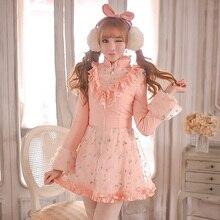Принцесса сладкий розовый Хлопок пальто Конфеты дождь Вышивка Кружева украшение однобортный Сладкий Японский дизайн C16CD5003