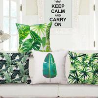 Fresh Cotton Linen Africa Tropical Plant Decorative Throw Pillow Vintage Cushion Cover Case H3