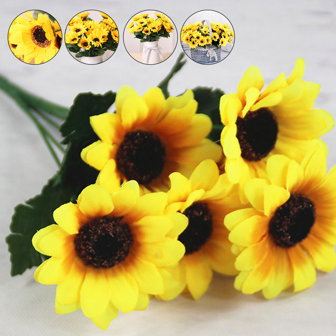 Flower Arrangement Diy Home Decoration 1 Bouquet Yellow Silk