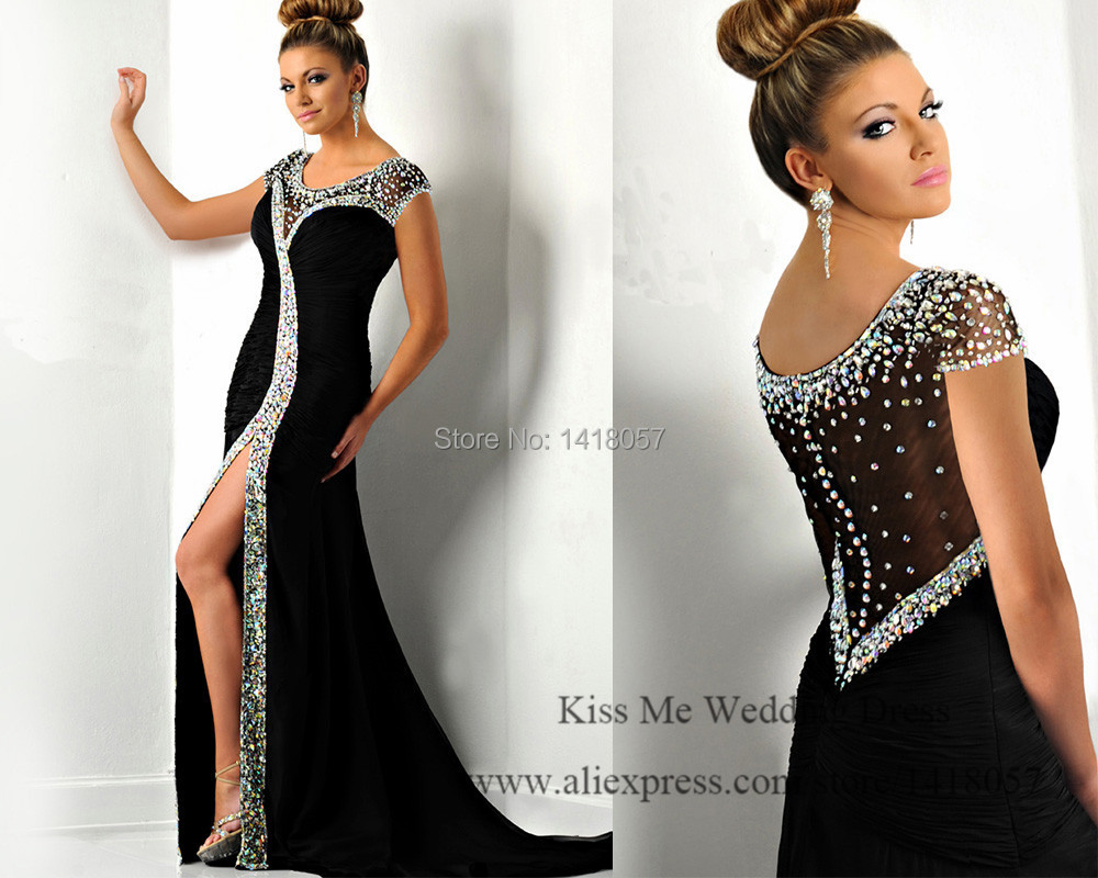 Modest Long Black   Evening     Dress   Crystals Mermaid Prom   Dresses   2015 Cap Sleeve Special Occasion Couture Split Side Robe de Soiree