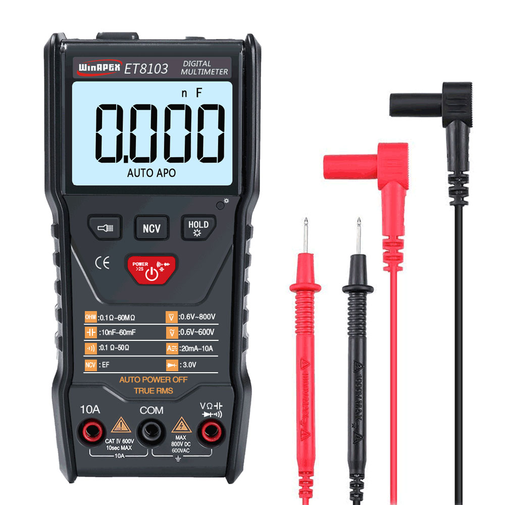 Digita Multimeter LCD Mini 6000 Counts Auto Measure Multimeter AC/DC Voltage Current Capacitance Electric Field Resistance Meter