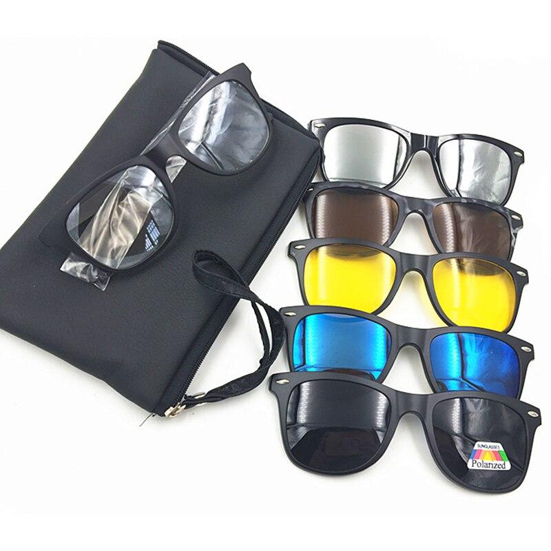Nueva 5 en 1 hombres polarizados sol magnético Clip TR90 marco Retro gafas de visión nocturna de conducción gafas ópticas con bolsa