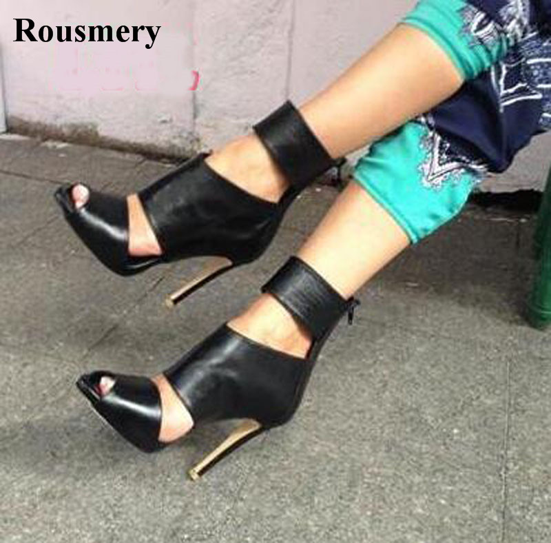 Summer Hot Selling Women Fashion Open Toe Black Leather Gladiator Sandals Ankle Wrap Cut-out High Heel Sandals
