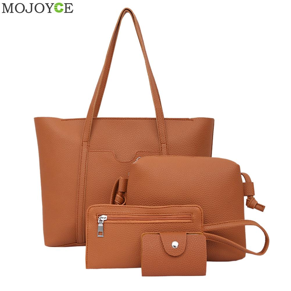 Handbag Set 4pcs Women Simple PU Leather Shoulder Crossbody Bag Female Fashion Day Clutch Bag Card Holder Purse Bag Set Bolsa jooz brand luxury belts solid pu leather women handbag 3 pcs composite bags set female shoulder crossbody bag lady purse clutch