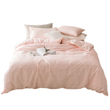 100% Cotton Pink Bedding Sets Twin Queen Size Duvet Cover Solid Color Bed Sheet Pillow Case Soft Cute Duvet Cover Sets For Home