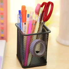 Mesh Style Metal Pen HolderNew Stationery Square Iron Spray Anti-Rust Pen Holder M Desktop Storage Of Debris Tube Pencil Rack(China)