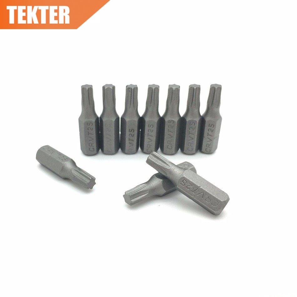 TEKTER 10 Pieces Chrome Vanadium Cr-v Steel Torx Screwdriver Bits T25 25mm Hex Shank Screwdriver Tool Set Chave De Fenda