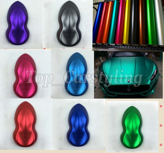 Various Colors Matte chrome Vinyl For Car Wrap Covering With Air Release Metallic matt Car stickers PROTWRAPS 1.52x20m/5x67ft