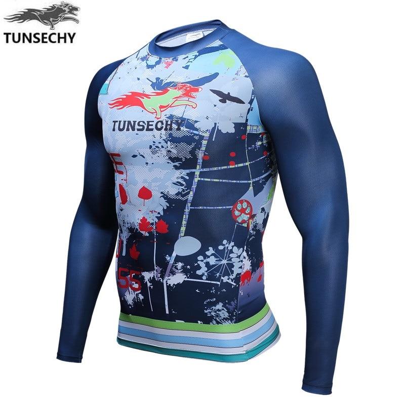 TUNSECHY marca hombres 3D Impresión Digital Compression Tights bicicleta  Fitness tees manga larga Camiseta cuello redondo de secado rápido 01d645c5b28
