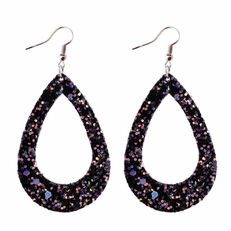 ZWPON 2018 Hollow Glitter Leather Teardrop Earrings for Women Silver Spring Statement Black Earrings Fashion Jewelry Wholesale