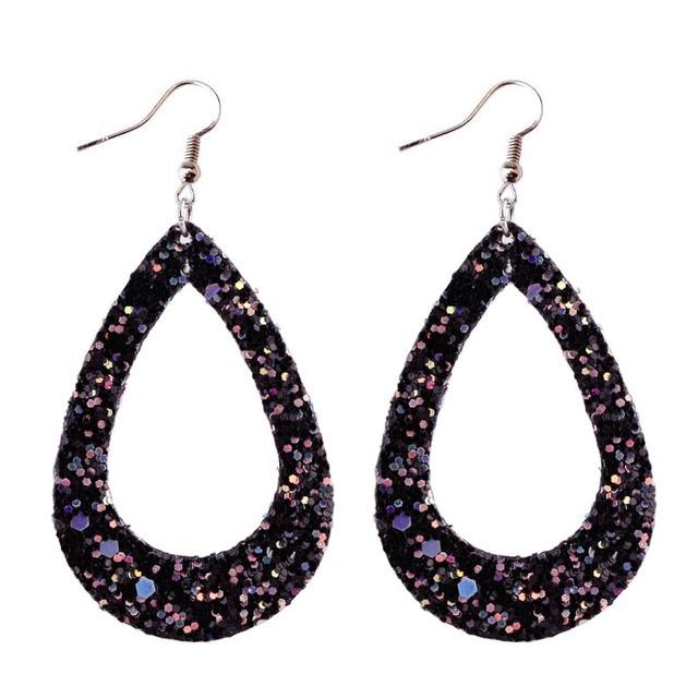 639fef1728 US $1.49 25% OFF|ZWPON 2018 Hollow Glitter Leather Teardrop Earrings for  Women Silver Spring Statement Black Earrings Fashion Jewelry Wholesale-in  ...