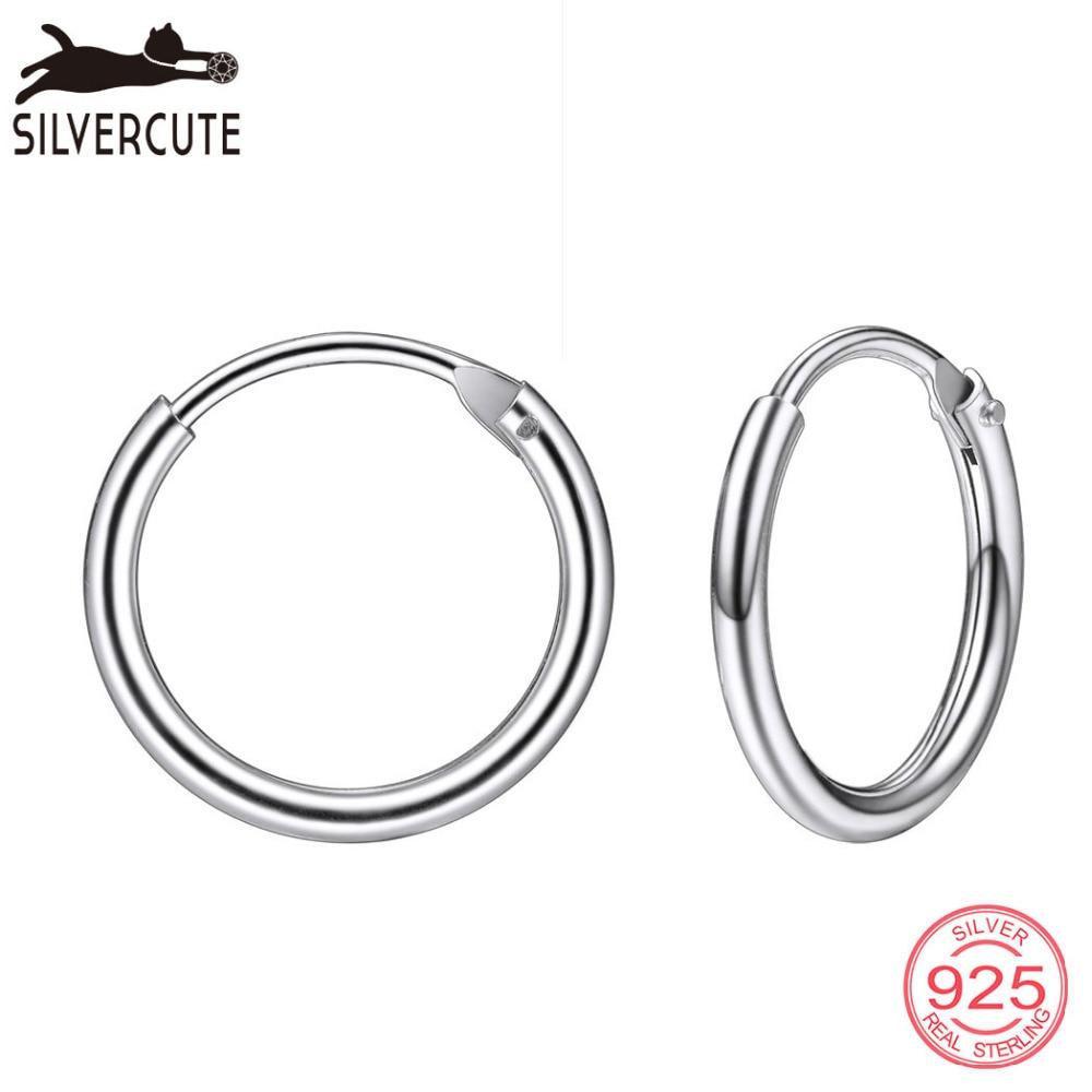 Silvercute Hoop Fülbevaló 100% Real 925 Sterling Ezüst Nők - Finom ékszerek