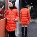 2017 Nuevos niños del invierno brillante chaqueta de colores muchachas de la manera de largo abajo abrigo de algodón de alta calidad niños caliente outwear suave 16A12