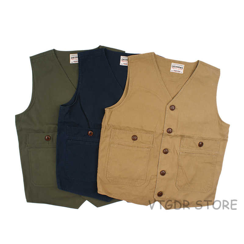 Vintage Canvas Work Vest Men's Multi Pocket Outdoor Waistcoat Casual Jacket