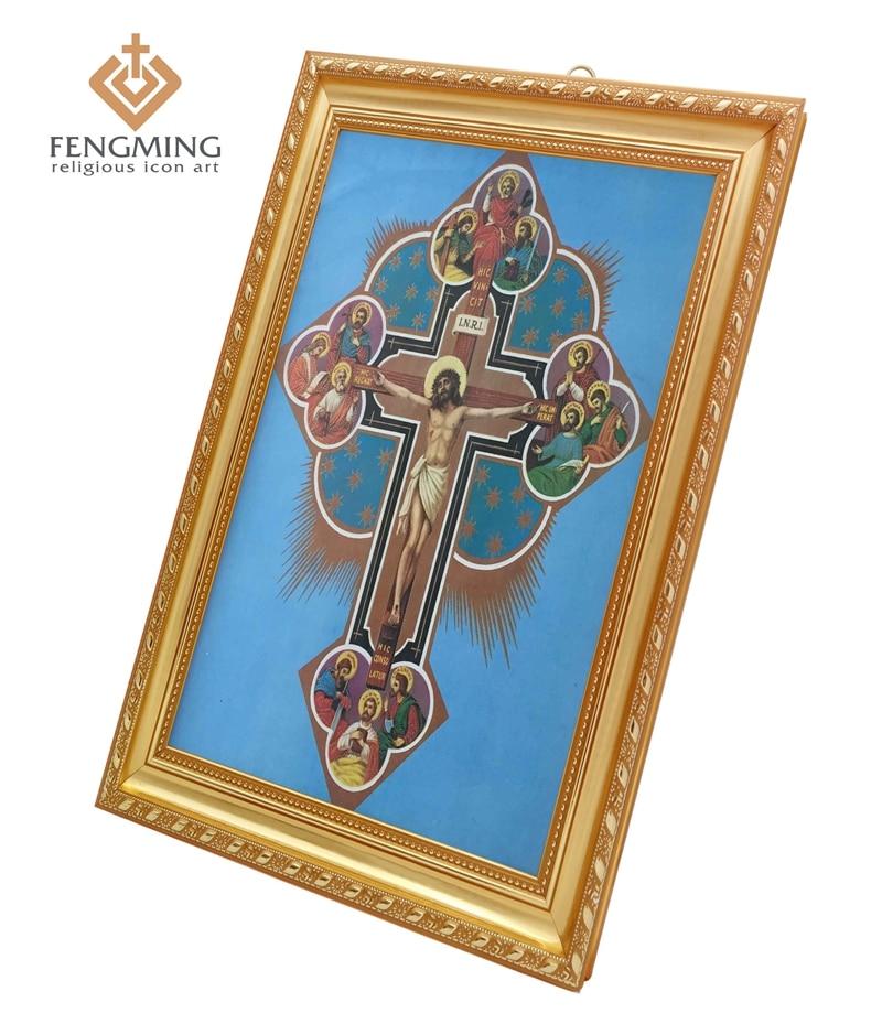 Russische icons Antike jesus am kreuz kunststoff bilder rahmen ...