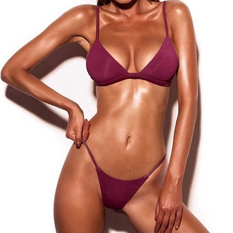 Solid Top Thong Micro Bikini Women Swimsuit Brazilian Bikinis Set Bathing Suit Beach 1